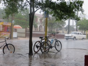 Vinales, very heavy downpour which went for 1.5 hours. Fortunately we just got back into town before it hit.