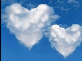 hearts in cloud and blue skies.his and hers