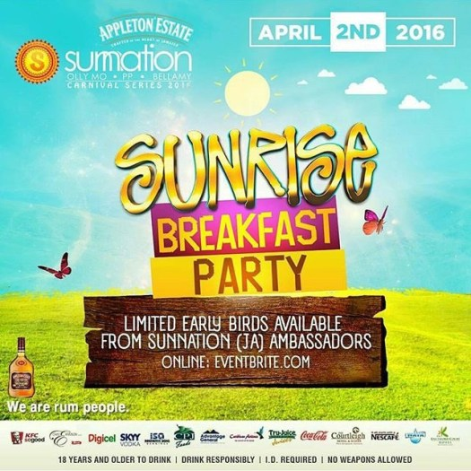 2016 Sunrise Breakfast Party (Jamaica Carnival Series)