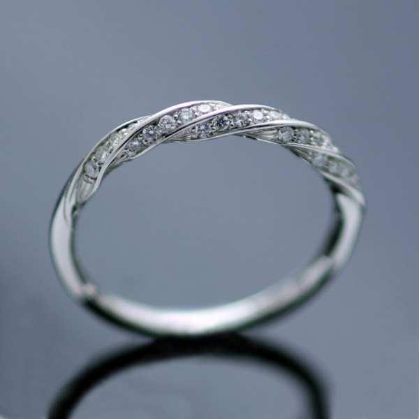 Candy Twist Diamonds Set In Platinum Eternity Ring