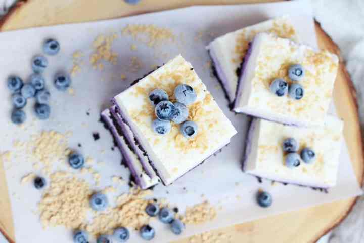 Blueberry cheesecake squares view from the top