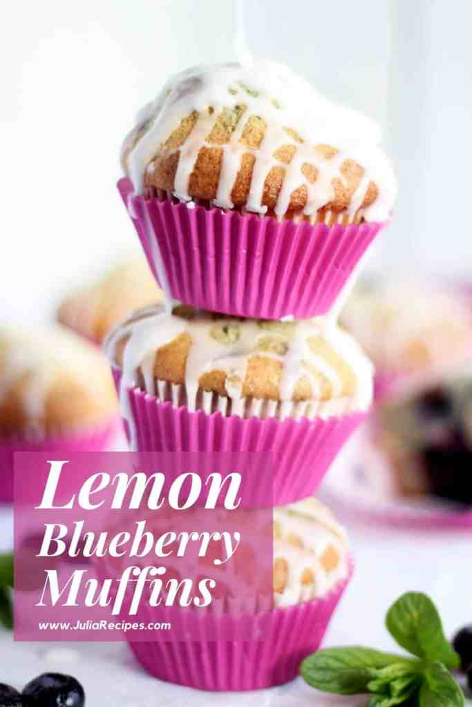 Three blueberry muffins with lemon glaze stacked on each other with text