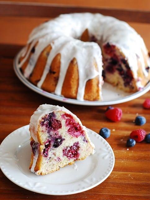 Berry bundt cake with lemon glaze