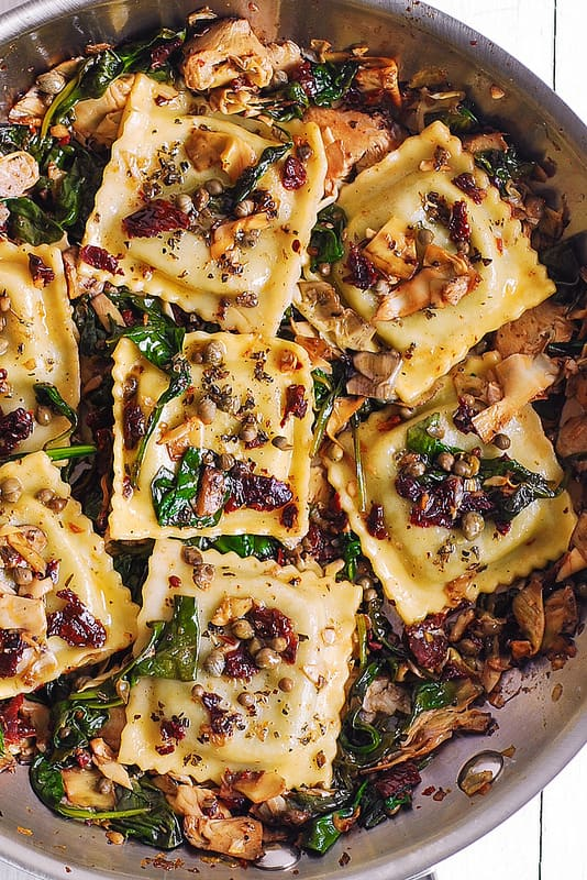 Ravioli with Spinach, Artichokes, Capers, Sun-Dried Tomatoes