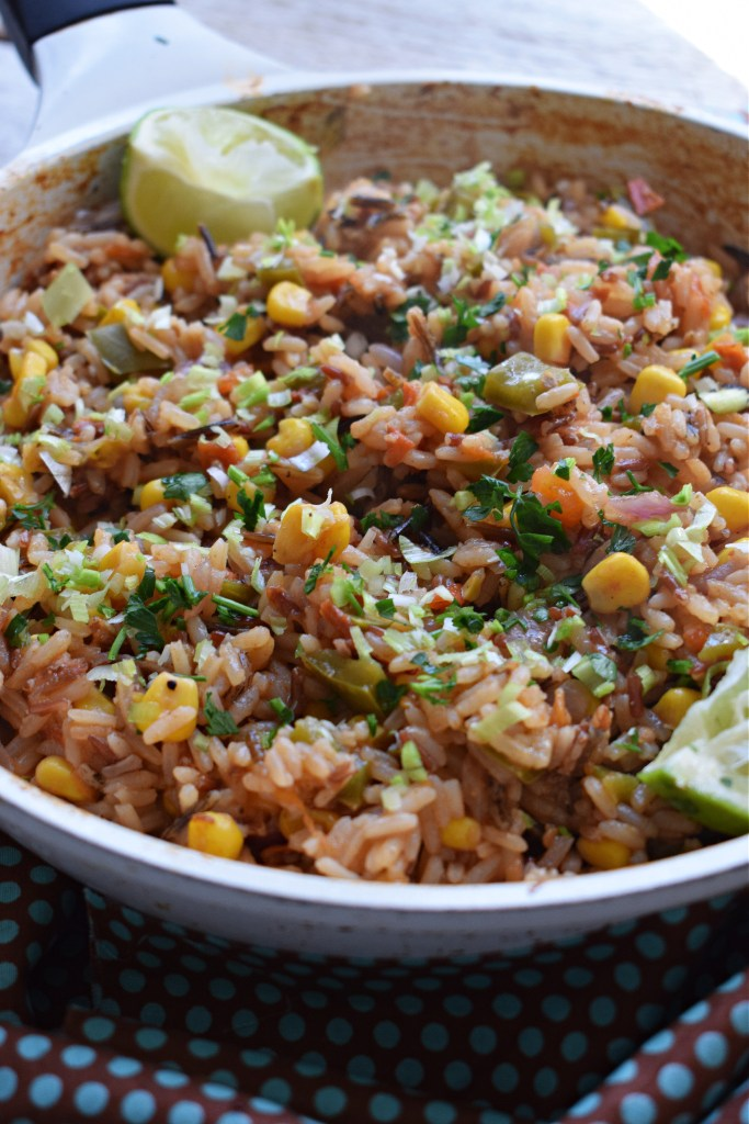 Mexican Rice in a white skillet