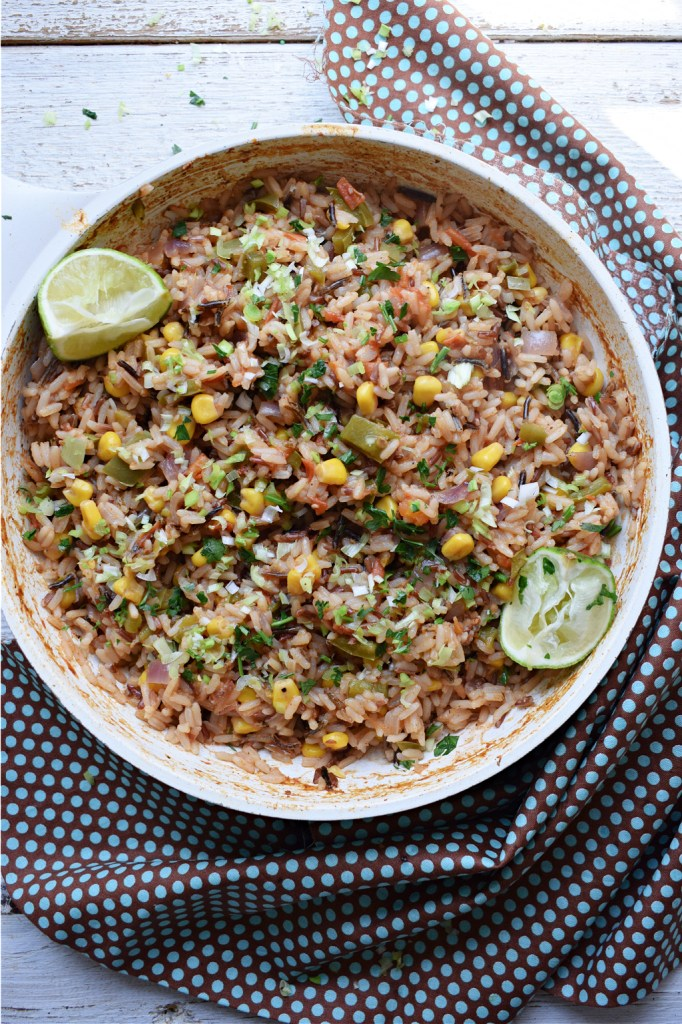 Mexican Style Rice in a skillet