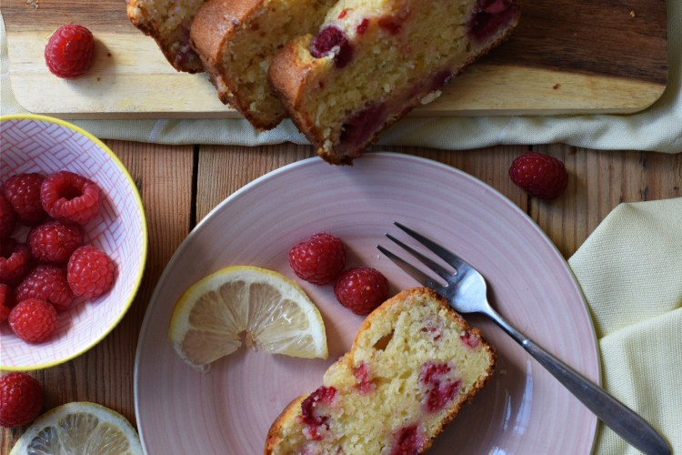 Over head table setting view of the raspberry lemon loaf cake