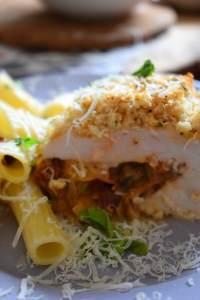 close up of the Mozzarella & Tomato Stuffed Chicken