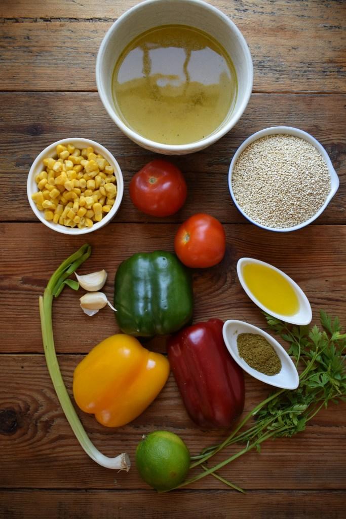 Ingredients to make southwestern style quinoa