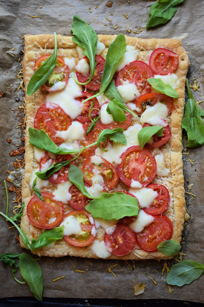 over head view of a tomato tart