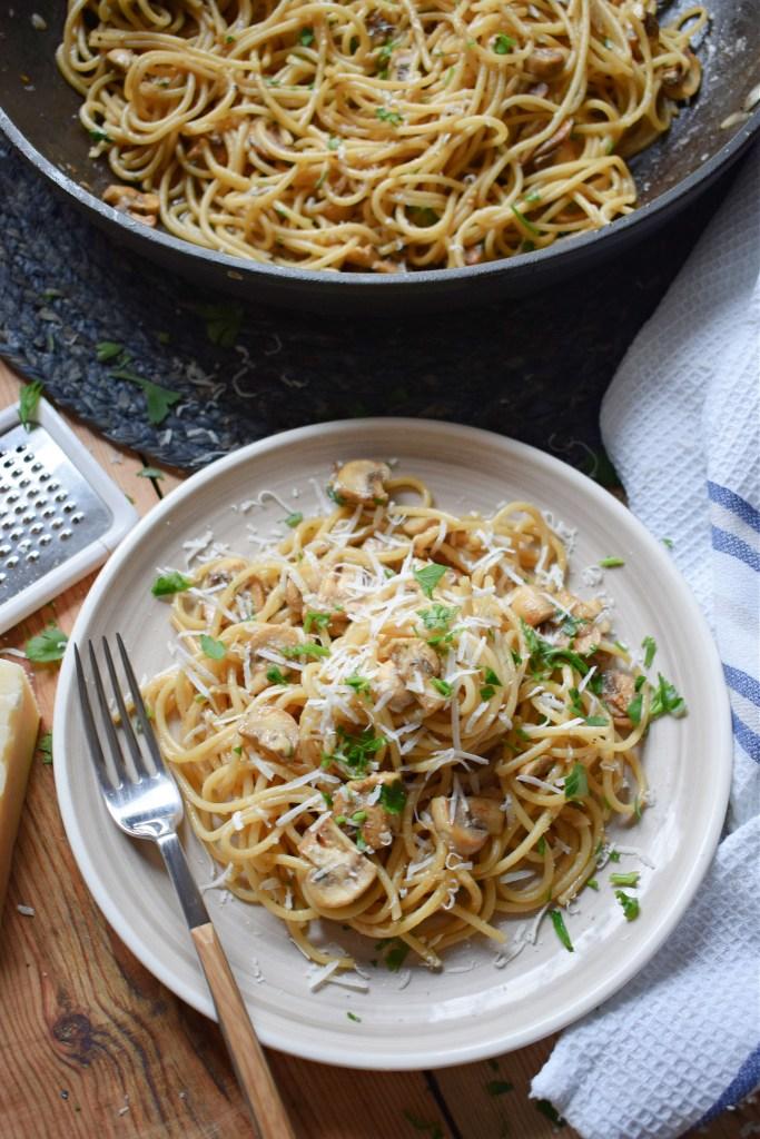 Easy Garlic Mushroom Spaghetti on a plate