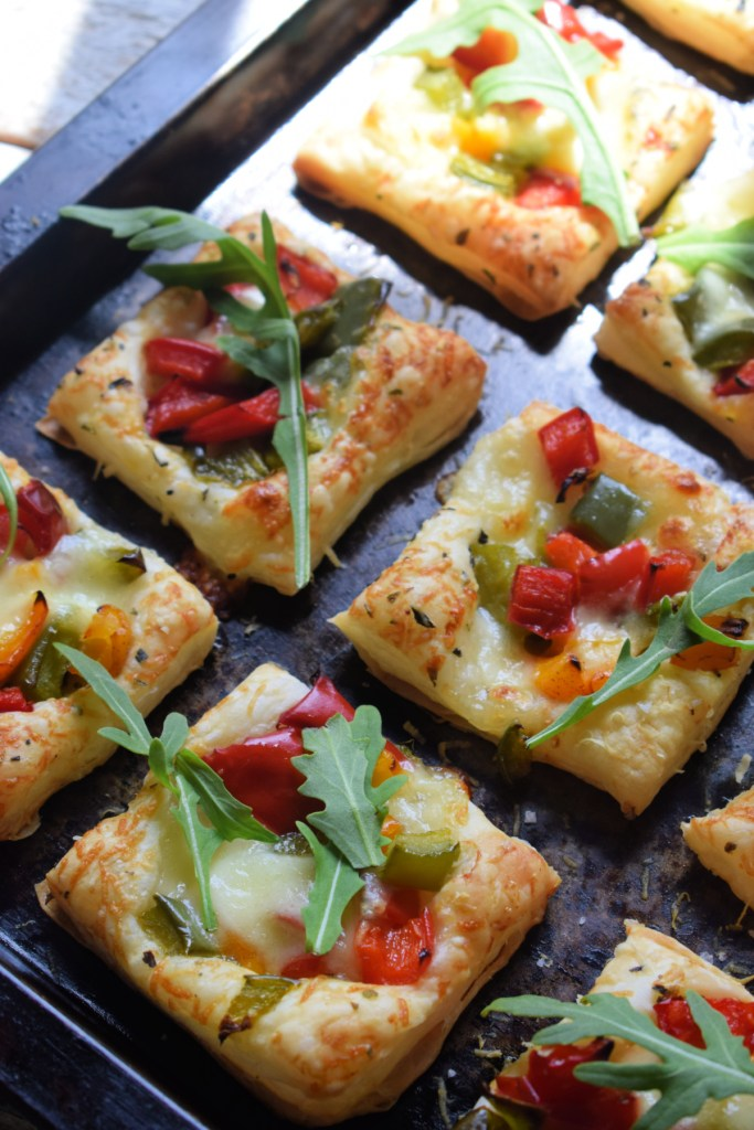 Roasted Bell Pepper Puff Pastry Bites on a baking tray