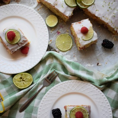 Lime Drizzle Summer Berry Cake