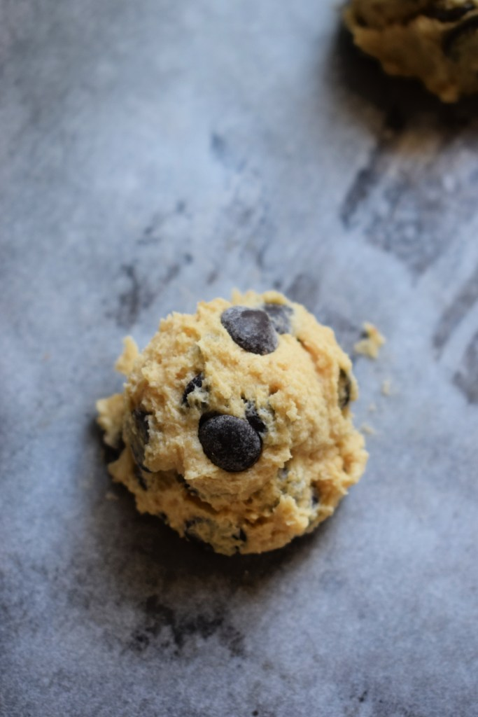 a chocolate chip cookie raady to bake