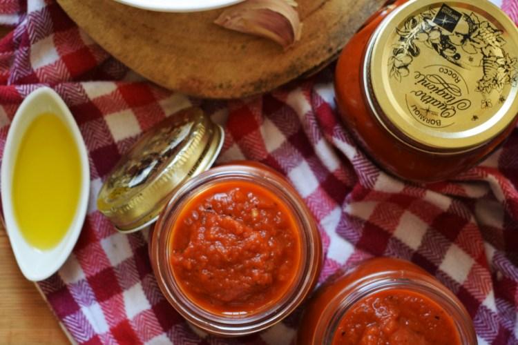 over head view of marinara sauce