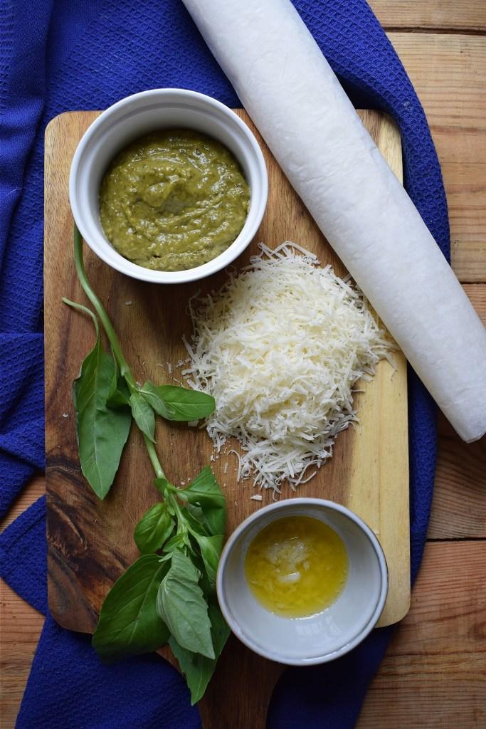 Ingredients to make the pesto puff pastry pinwheels