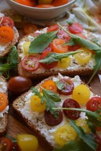 close up of the ricotta and tomato toast recipe