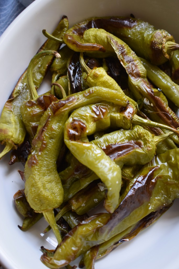 close up of the oven roasted green peppers