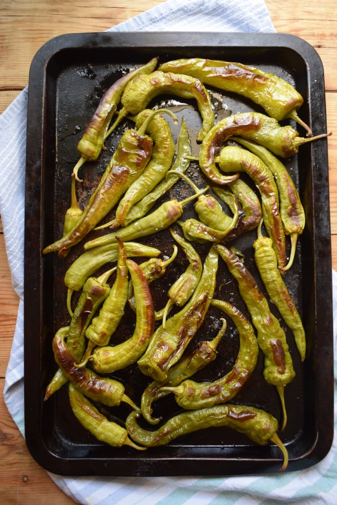 Oven Roasted Italian Green Peppers on a baking tray