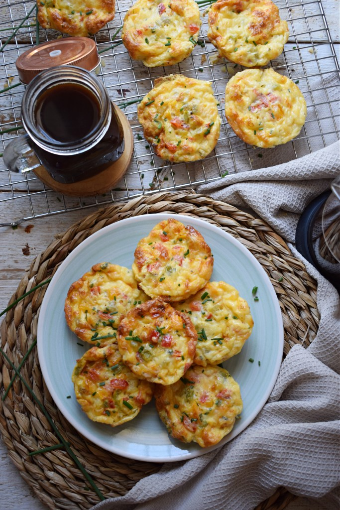 over head view of the bell pepper and egg breakfast muffins