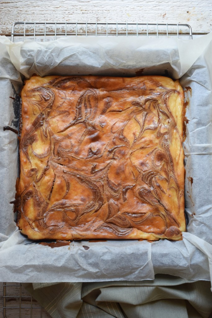Cream Cheese Brownies in a baking pan fresh out of the oven