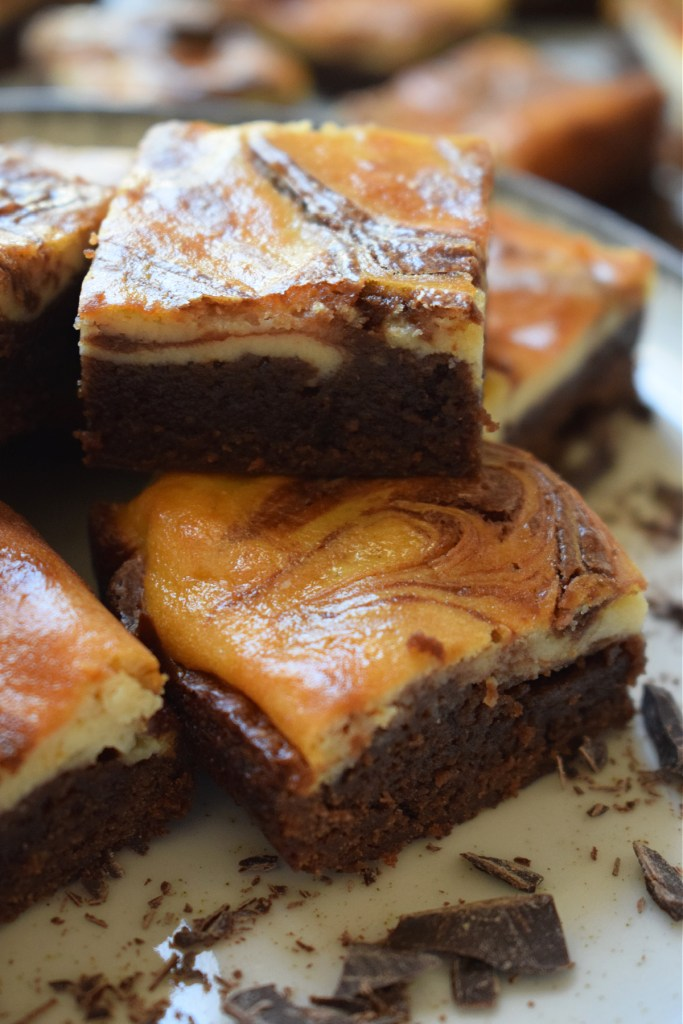 A stack of cream cheese brownies