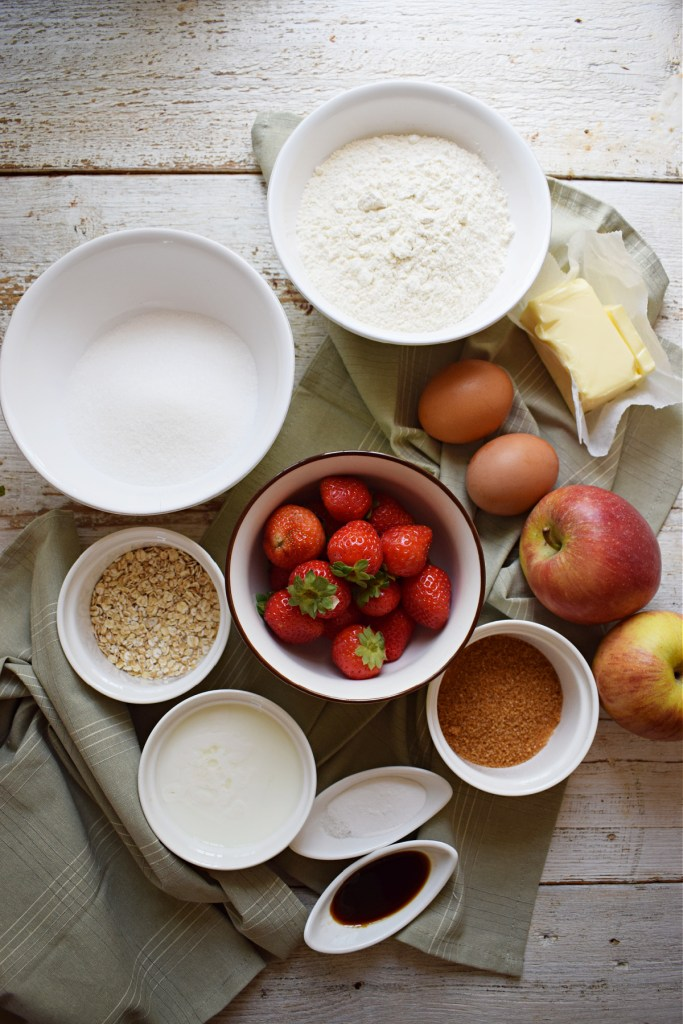 Ingredients to make the Strawberry & Apple Muffins