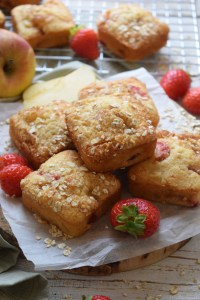 Muffins stacked with fresh strawberries