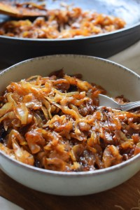 close up of the caramelized onions