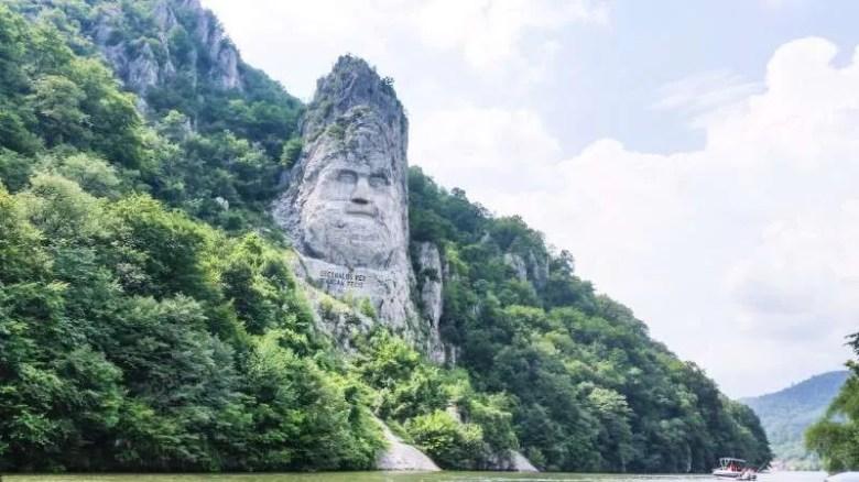 Decebal's statue Cazanele Dunarii the Great and Small Danube Gorge