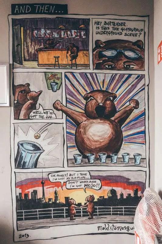 wombat's berlin hostel wall pictures