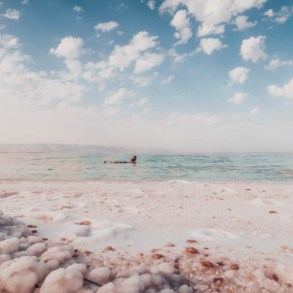 Floating in the Dead Sea in Jordan