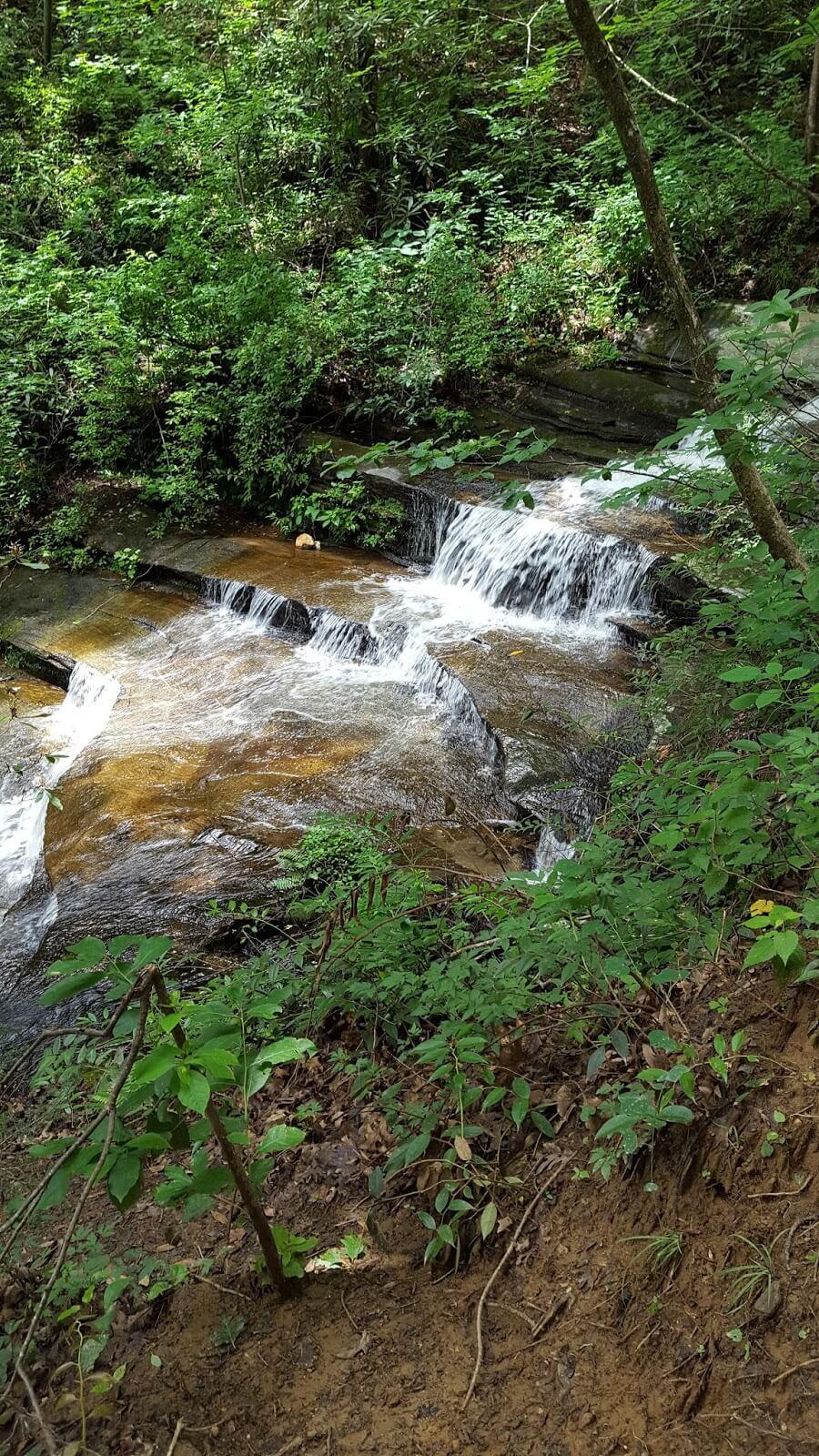 Beautiful cascading waterfall in Blue Ridge Mountains