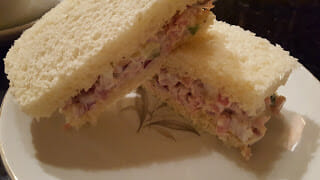 Homemade ham salad sandwich