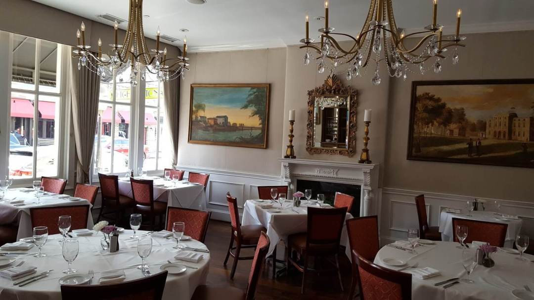 Small dining room at High Cotton restaurant in Charleston, SC