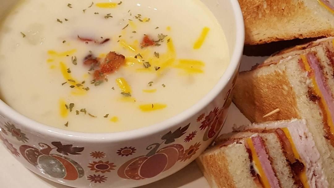 Bowl of old fashioned potato soup