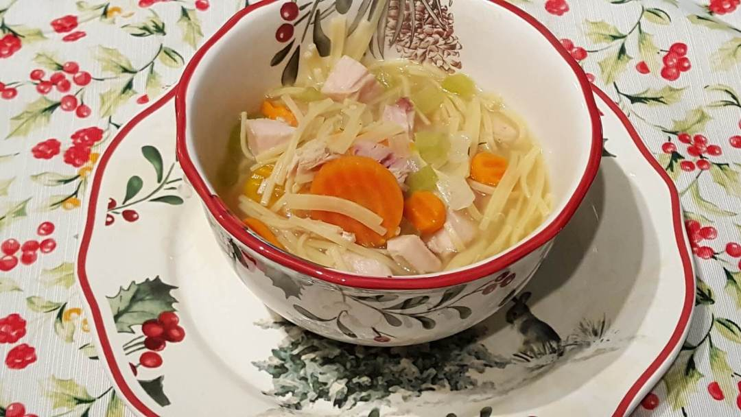 Turkey Noodle Soup made with leftover Thanksgiving Turkey