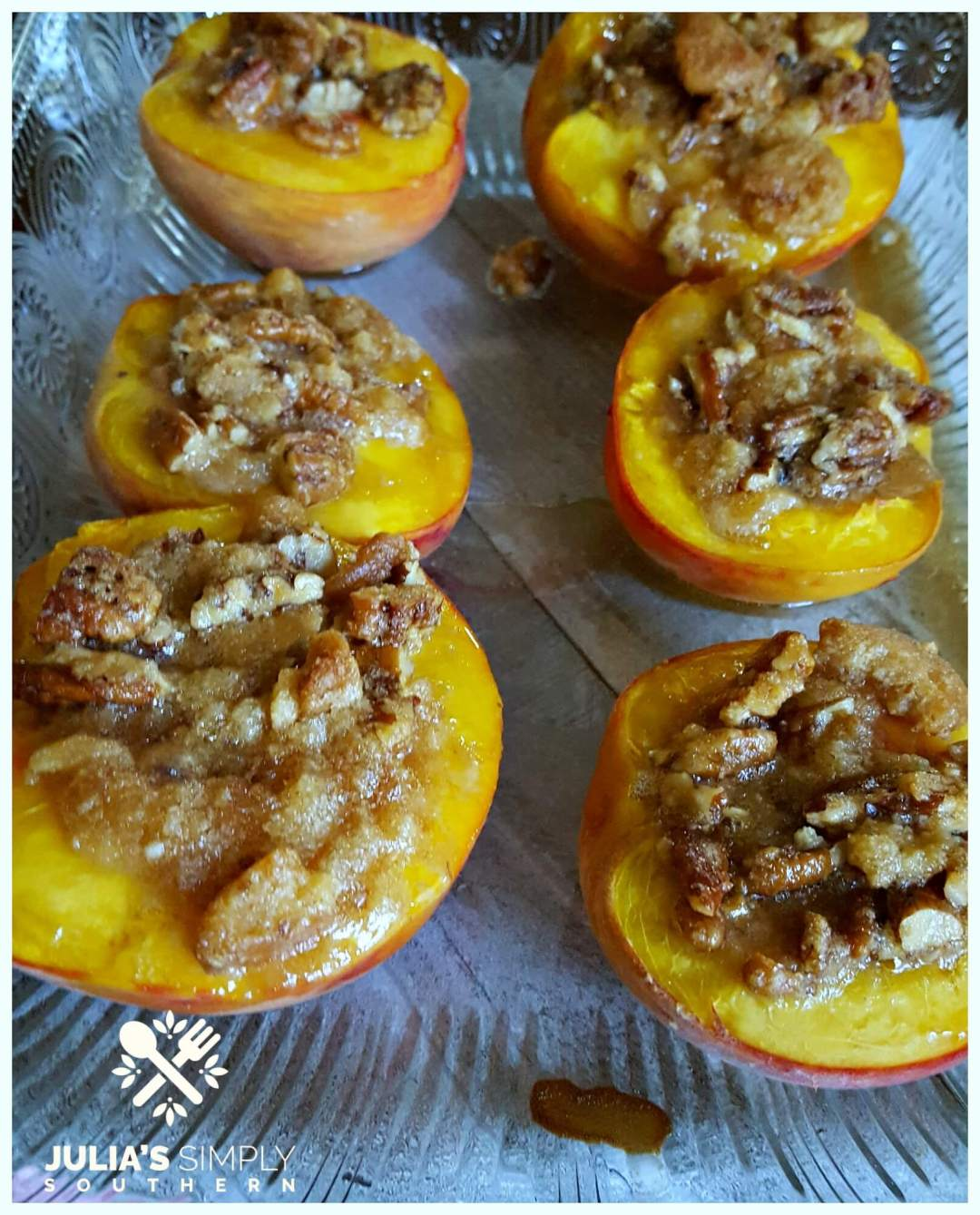 Baked peaches with bourbon topping