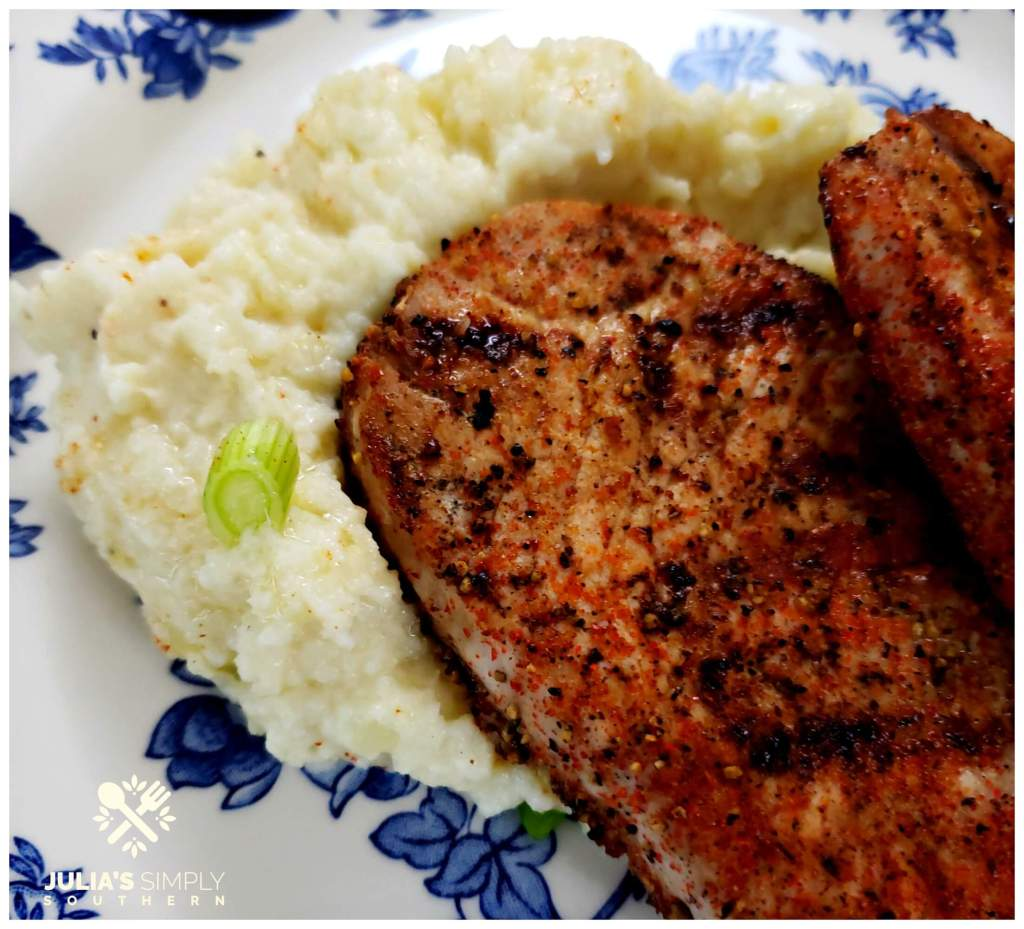 Blue and White China with spicy pork chops and low carb cauliflower mashed potatoes