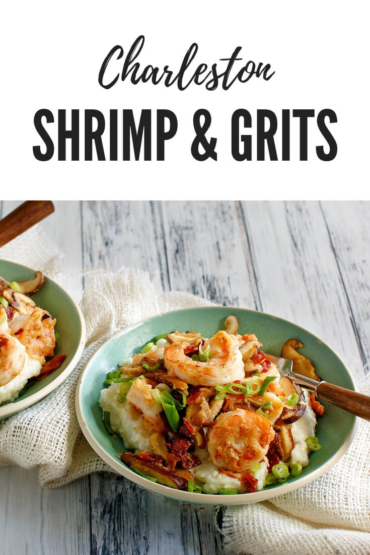 A low country favorite, Charleston Shrimp and Grits, traditional style for breakfast, brunch, lunch or dinner #seafood #shrimpandgrits #SouthernFood #shrimprecipes