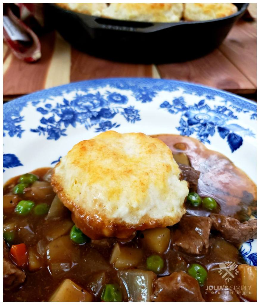 Easy beef pot pie on a plate