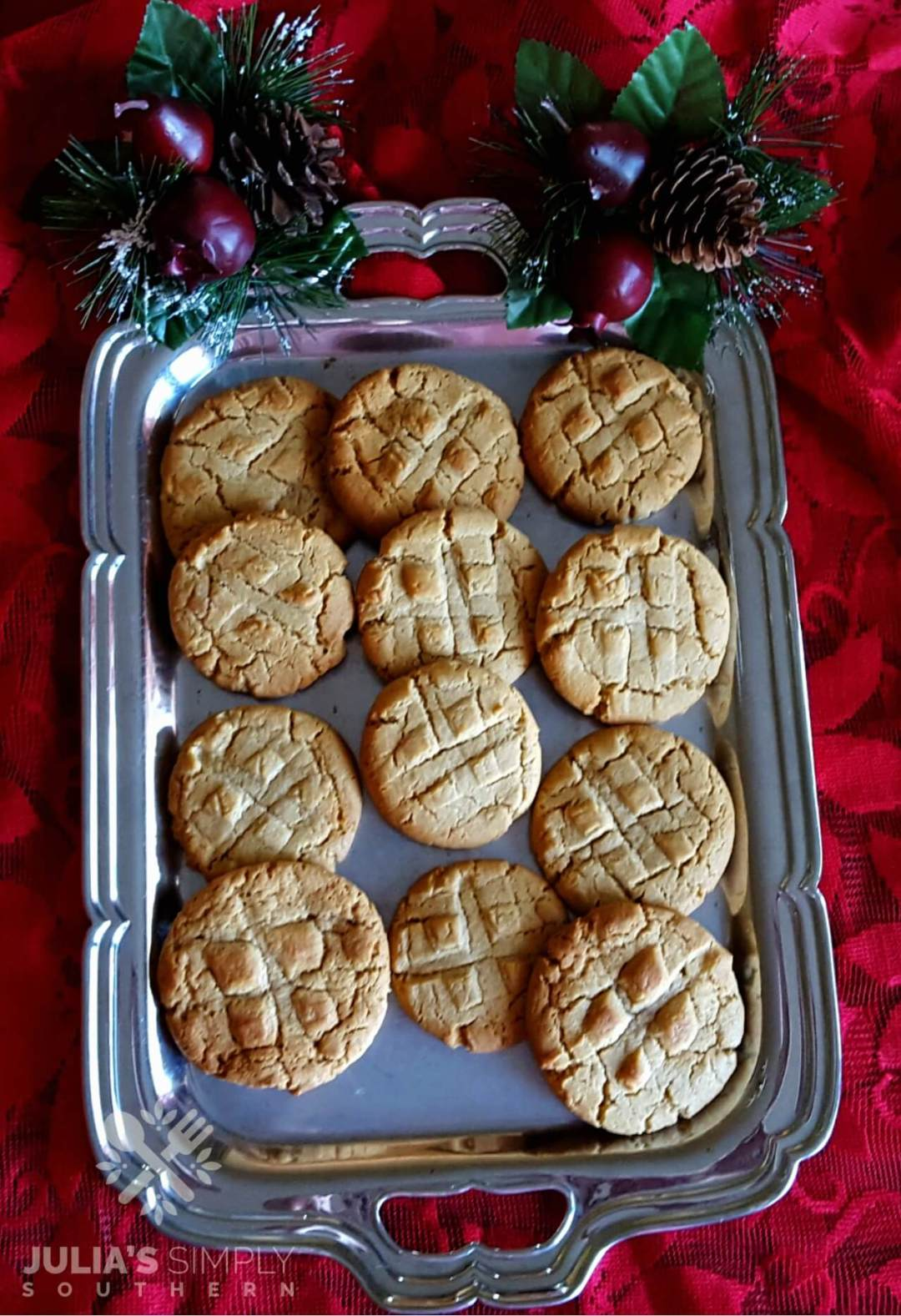 Peanut Butter cookies for Christmas on a silver platter