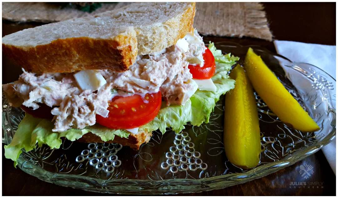 Incredible delicious tuna salad with egg on fresh baked bread