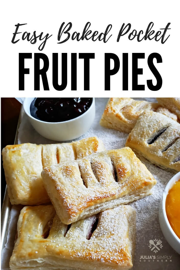 How to make easy fruit hand pies, baked with puff pastry dough. Easy kid friendly dessert that can be topped with optional glaze #fruitpie #desserts #easyrecipe #pocketpies #handpies