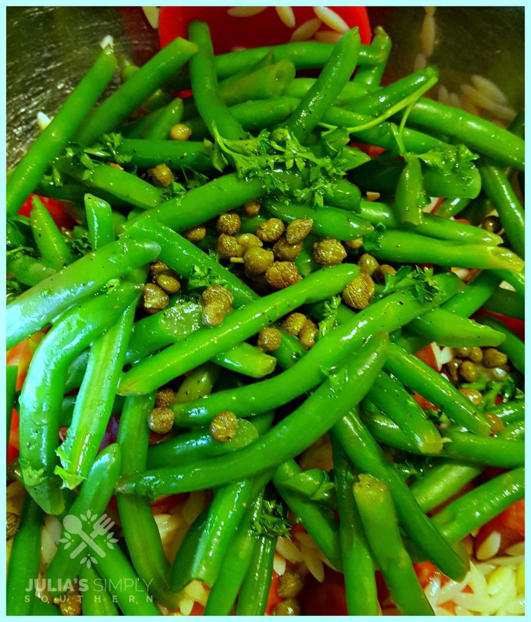 Making a cold green bean salad