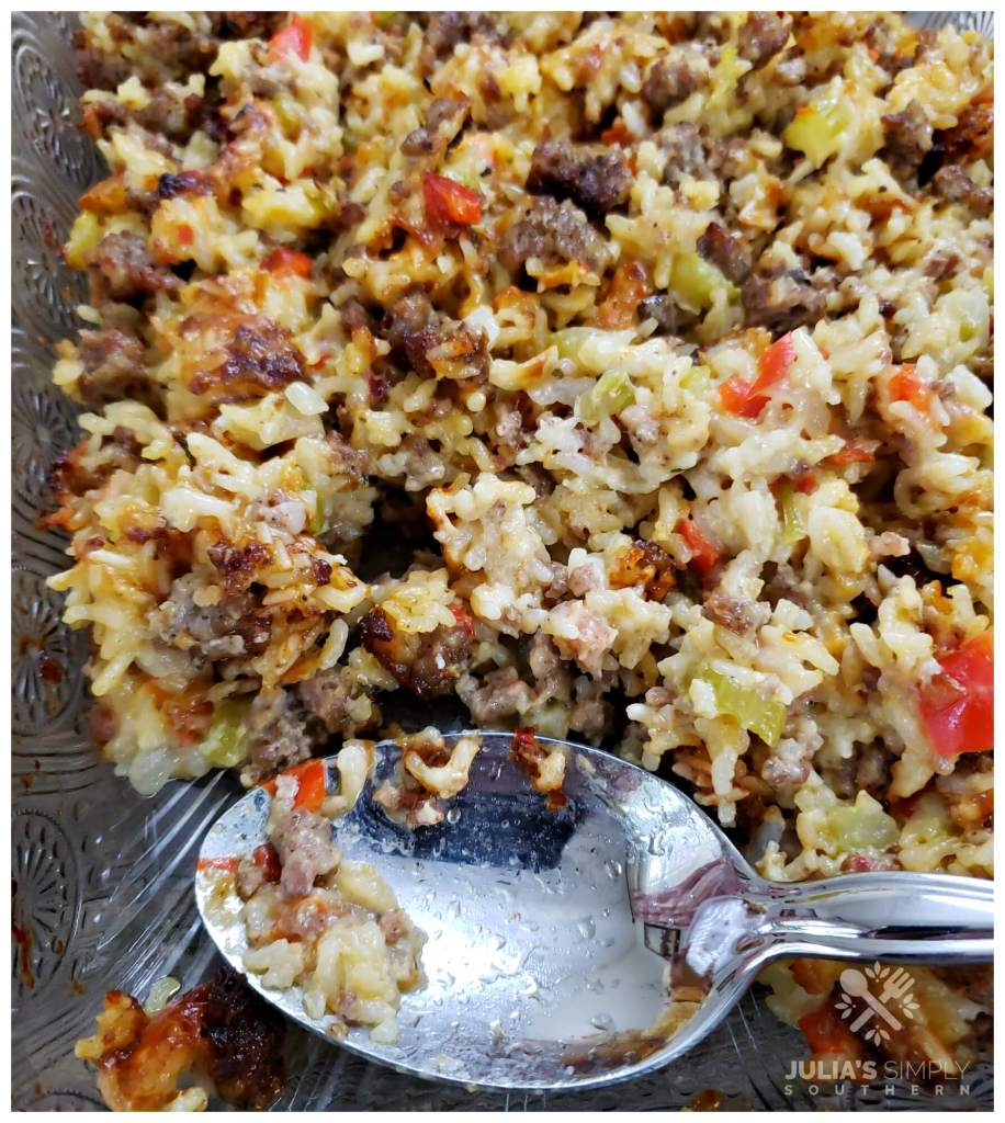 Sausage and Rice casserole side dish recipe in a glass Pioneer Woman baking dish