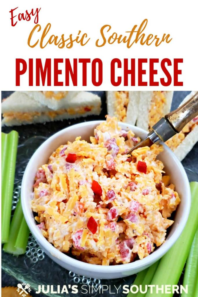 Pinterest - Best Southern Pimento Cheese Recipe - using basic ingredients, create this classic spread that can be used on sandwiches, as an appetizer and as an ingredients in other recipes. This is a favorite to luncheons, holiday gatherings and the Master's golf tournament. #PimentoCheese #EasyRecipe #Holidays #SandwichSpread #CheddarCheese
