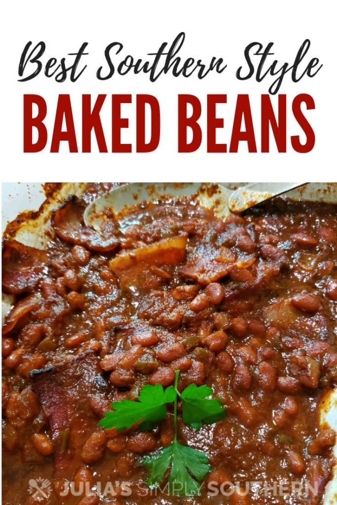 Do you want to make homemade baked beans? It is so easy! Southern style baked beans are rich in color and flavor and the perfect side dish for summer. #SouthernFood #Beans #bakedbeans #BBQ #SideDish #Bacon #Molasses #MemorialDayRecipes #4thofJulyRecipes