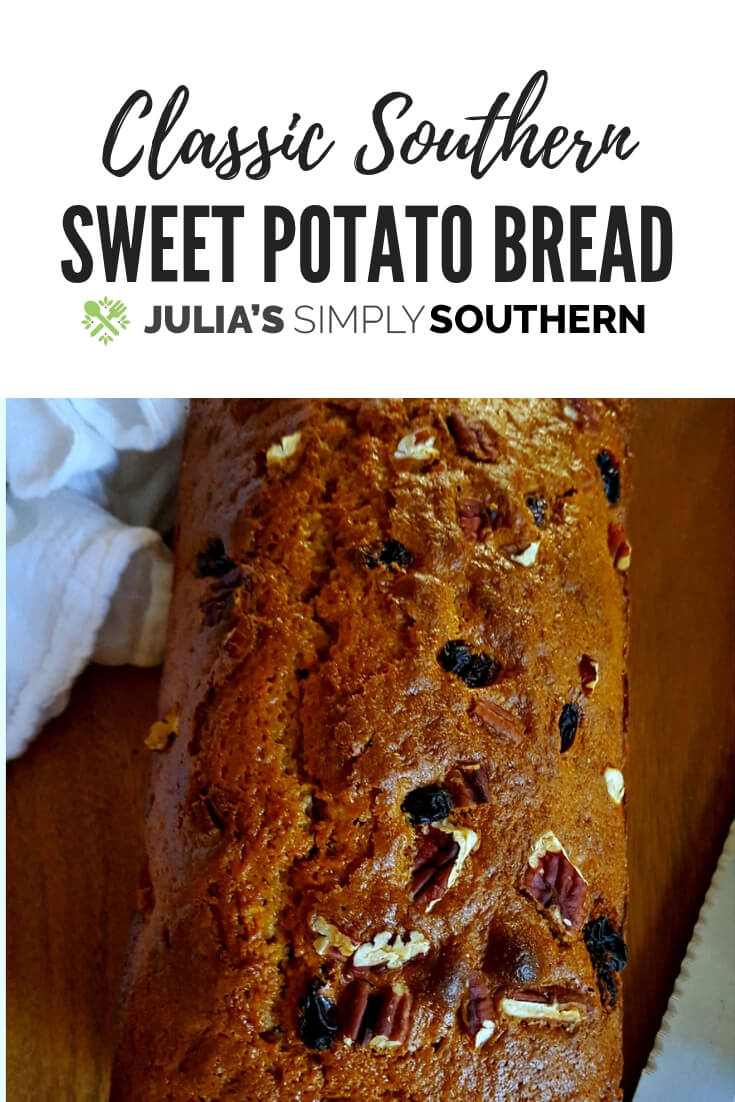 Southern Sweet Potato Bread - a moist and delicious fall treat #vegetable #sweetpotatoes #quickbread #baking #easyrecipe #delicious | Julia's Simply Southern