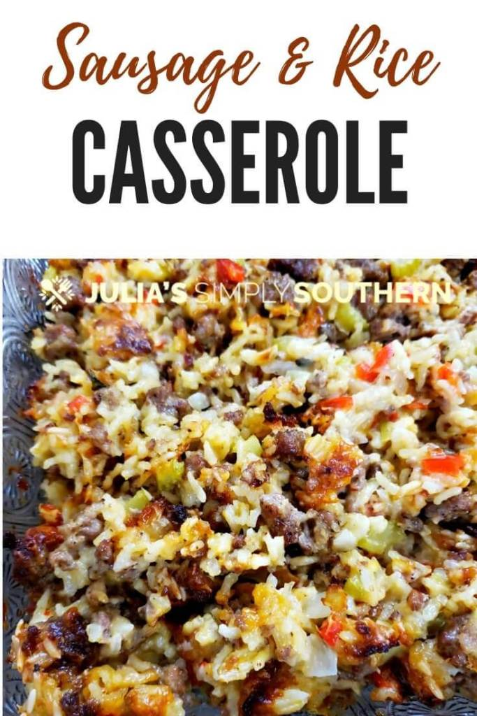 How to make an amazing sausage and rice casserole as the main dinner or as a side dish for family gatherings, such as Thanksgiving and Christmas. #SideDish #SausageCasserole #EasyRecipe #SouthernFood #SouthernCooking #SausageRiceDressing